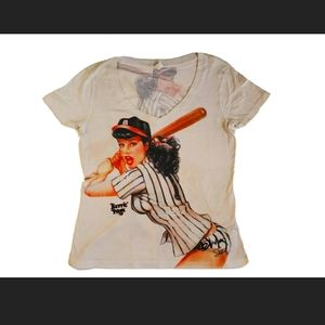 Shirley Of Hollywood  Bettie Page Baseball print W